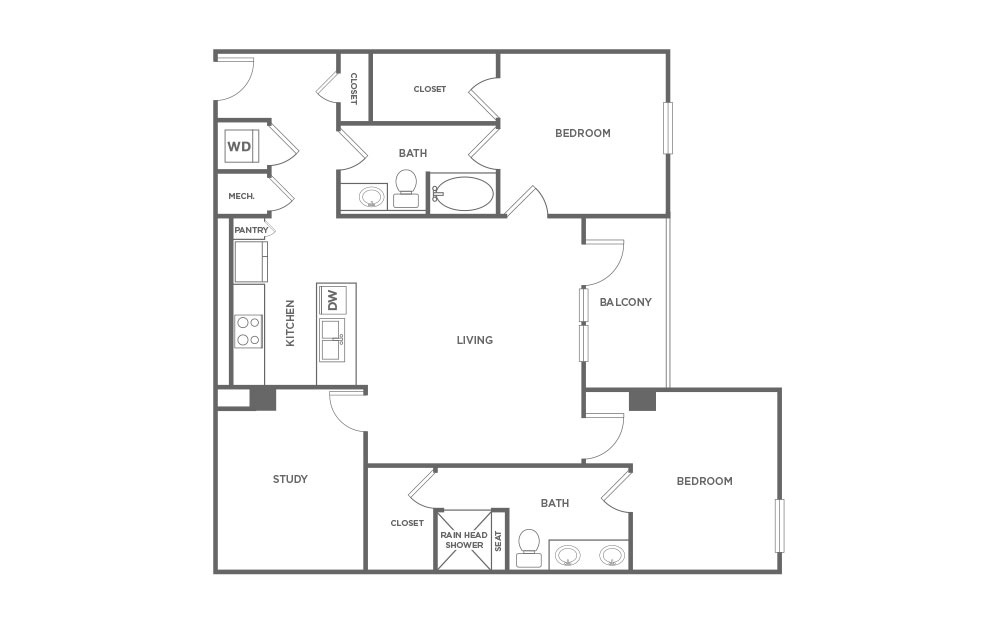 EB2D - 2 bedroom floorplan layout with 2 baths and 1425 square feet. (2D)