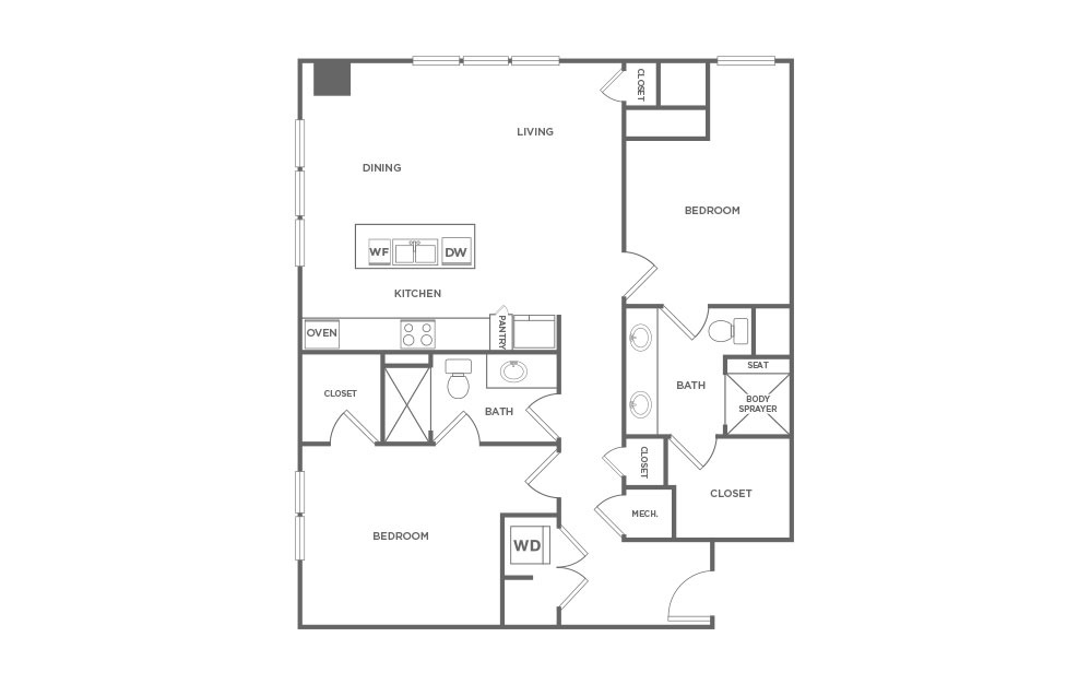 EB2 - 2 bedroom floorplan layout with 2 baths and 1263 square feet. (2D)
