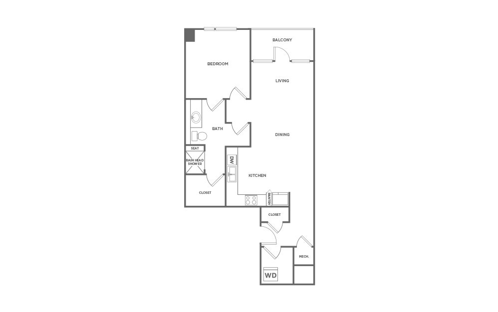 EA1.7 - 1 bedroom floorplan layout with 1 bath and 855 square feet. (2D)