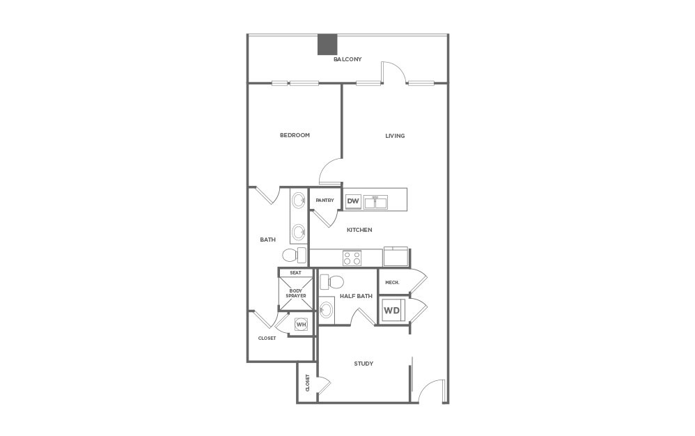 EA1D.1 - 1 bedroom floorplan layout with 1.5 bath and 1022 square feet. (2D)