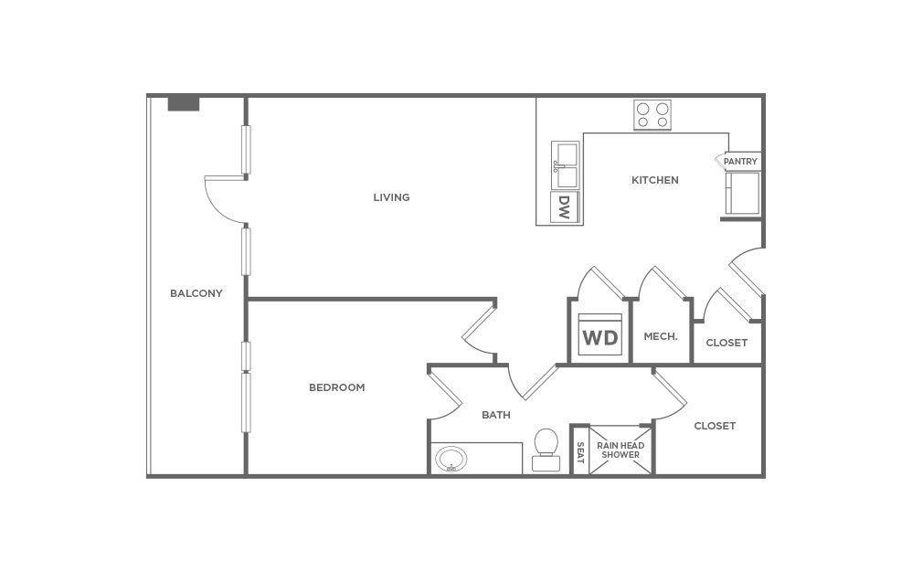 EA1.9 - 1 bedroom floorplan layout with 1 bath and 872 square feet. (2D)