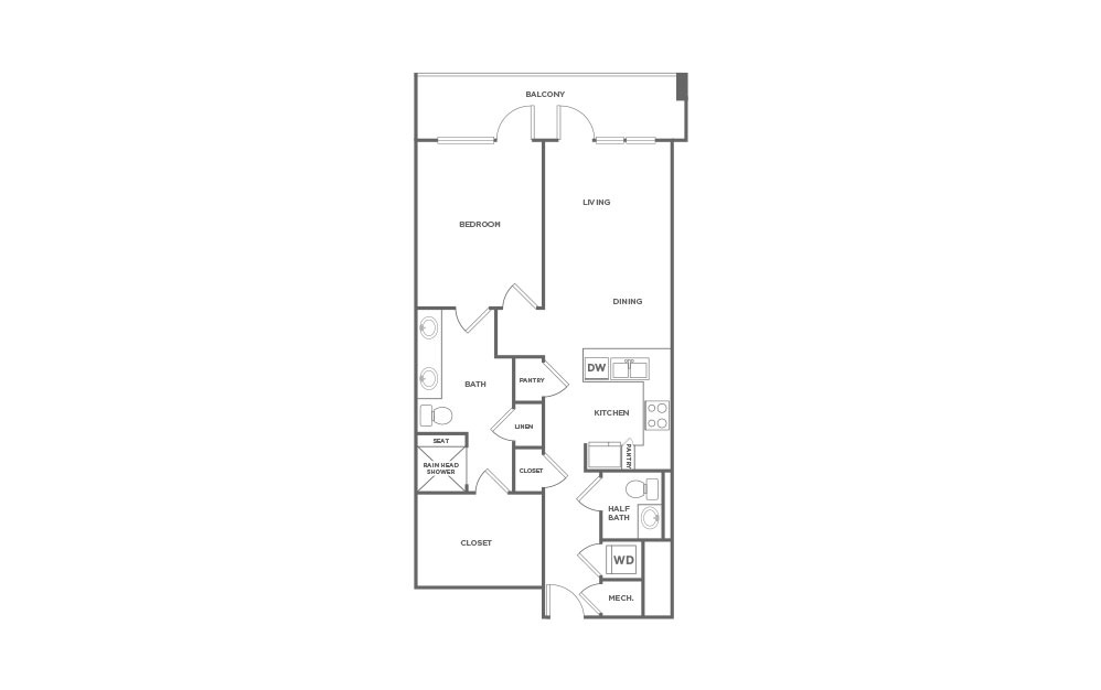 EA1.14 - 1 bedroom floorplan layout with 1 bath and 1017 square feet. (2D)