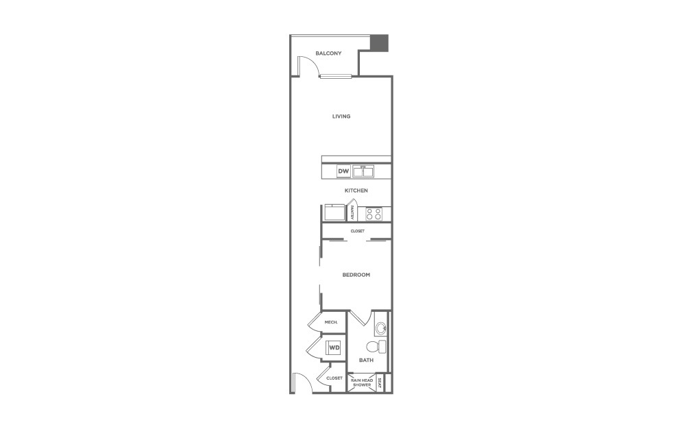 ES1.5 - 1 bedroom floorplan layout with 1 bath and 836 square feet. (2D)