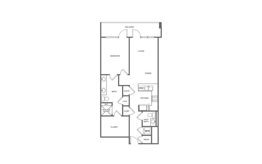 EA1.16 - 1 bedroom floorplan layout with 1 bath and 1091 square feet. (2D)