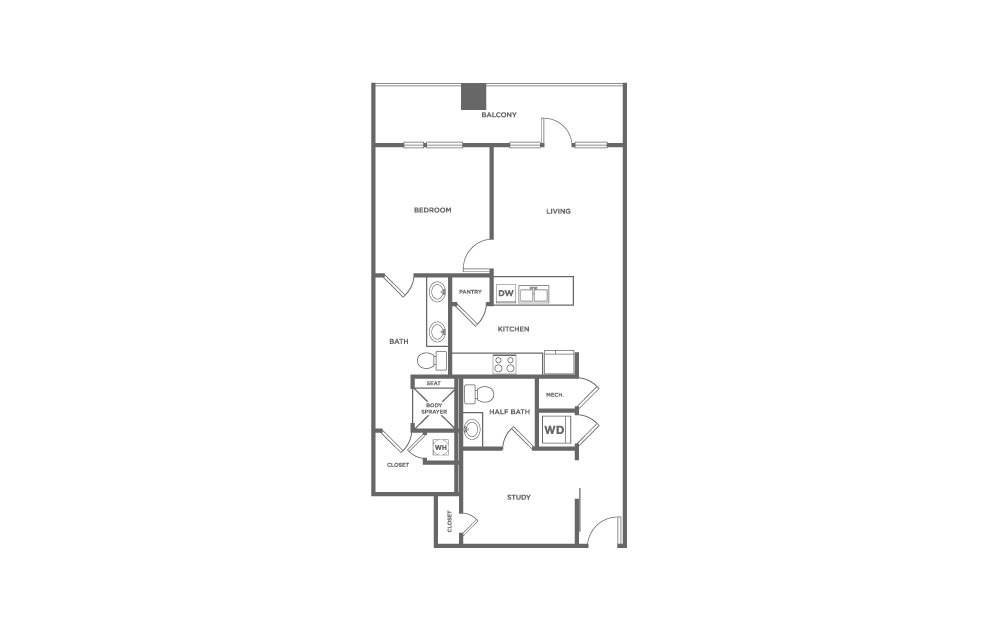EA1D.2 - 1 bedroom floorplan layout with 1.5 bath and 1059 square feet. (2D)