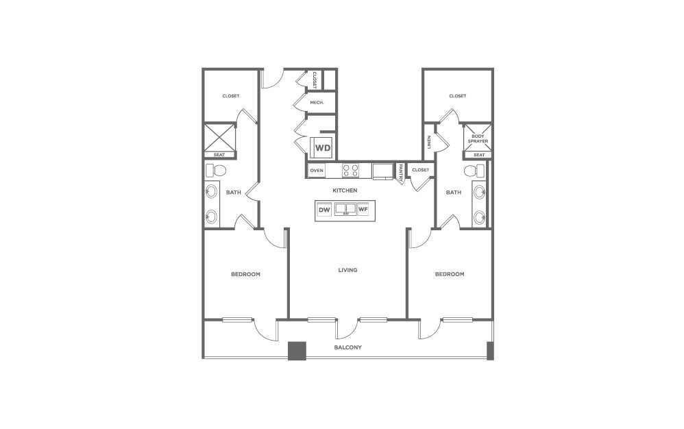 EB2.1 - 2 bedroom floorplan layout with 2 baths and 1478 square feet. (2D)